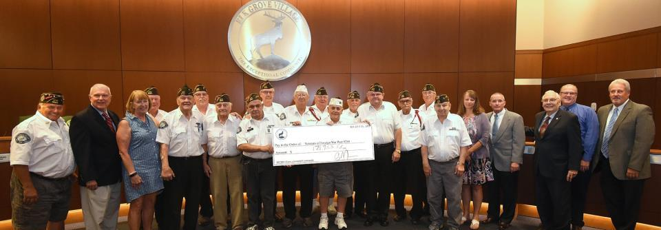 Village Board & CCC Present VFW with Check