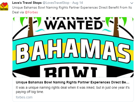 Loves Twitter Account Shares Forbes Article on Bahamas Bowl
